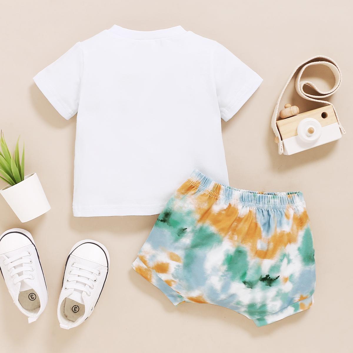 Neue Sommer 2 stücke Baby Mädchen Jungen Kleidung Outfits Kurzarm T-Shirts Tops Krawatten-Krawatten-Shorts Baumwollsets