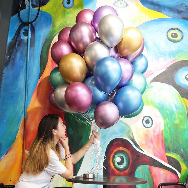 Perle épaisse métal 50pcs / lot ballons en latex 12 pouces brillantes couleurs métalliques de chrome glossy gonflable boules d'air gonflables anniversaire
