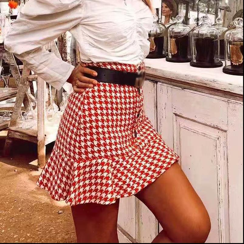 New vintage women tweed mini skirts 2021 fashion ladies button front ruffles skirt girls waist skirts feminine jupe femme