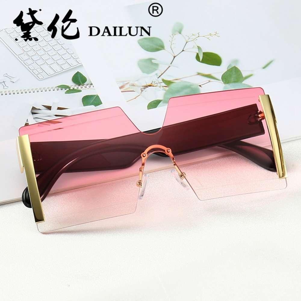 Neue rahmenlose einteilige Männer Brille Große Kasten Persönlichkeit Meeresstück Sonnenbrille