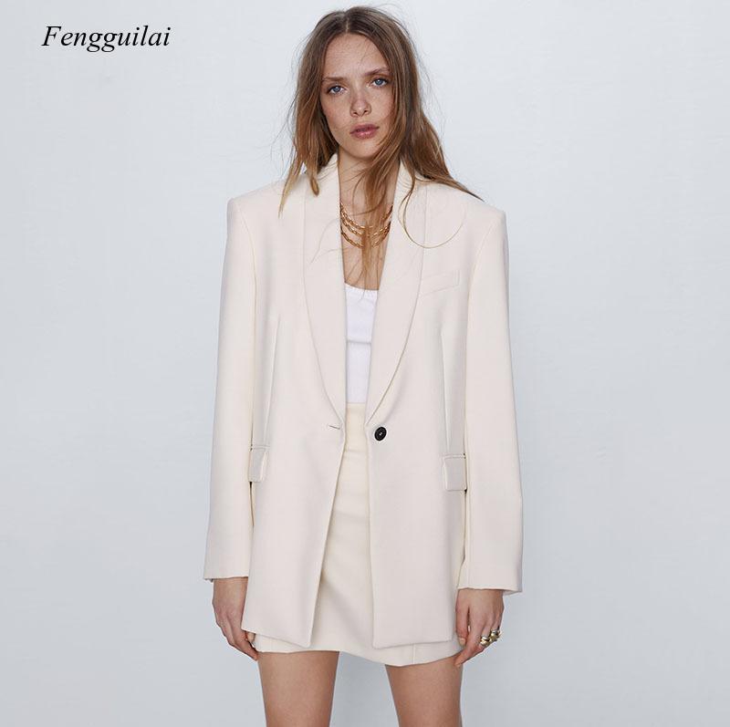 Женские костюмы Blazers 2021 Летняя осень носят негабаритных свободных стилей вскользь белый костюм для офисного пальто