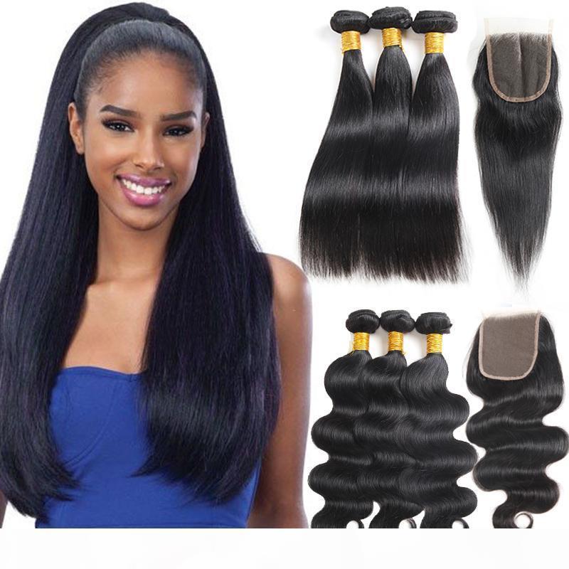 8A 10A прямые бразильские девственные волосы с наращиваниями закрытия 3 пакета бразильская волна тела с фронтальными необработанными REMY
