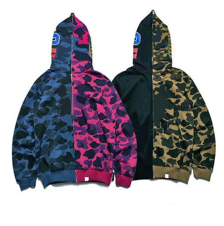 Hoodies dos homens de inverno com boca de tubarão impresso hoodie de maré de alta qualidade para homens mulheres designer de camisolas Cardigan suéter S-2XL 2 cores