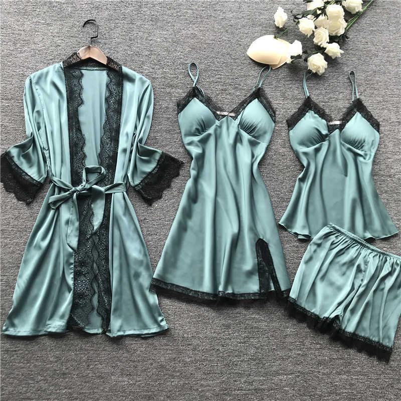 Talla grande 2xl Swimsuits Mujeres Pijamas Sets Satin Sleepwear Ropa de seda Seda de 4 piezas Pijama Spaghetti Strap Lace Sleep Lounge Pijama