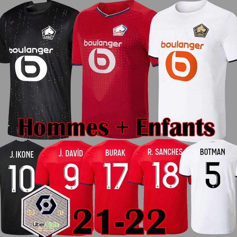 2021 2022 Losc Lille Futebol Jerseys Burak Fonte Bamba Yazici J David Camisa de Futebol 20 21 22 Lille Olympique Jikone 10 Adult filho Kit
