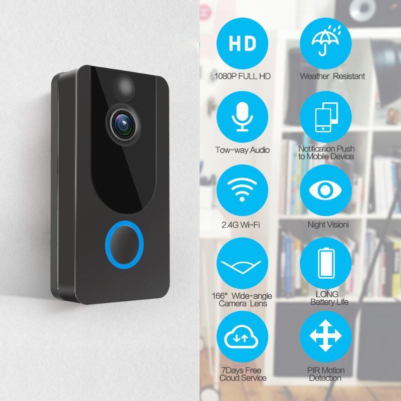 1080p Vedio Soignée sans fil Smart Motion Détection V7 Vidéo Smart Video Interphone Caméra de sécurité avec Chime Night Vision PIR