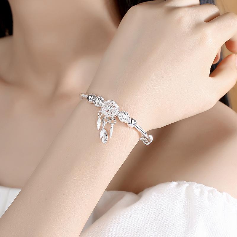 Armband 925 Sterling Silber Dreamcatcher Quaste Feder Charme Armband Armreif Für Frauen Mode Elegante Schmuck Zubehör Kette