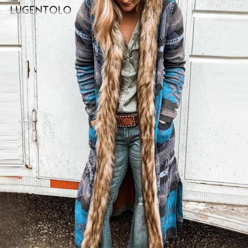 Lugentolo Trench Coat for Women Plus Tamaño Cuello de piel de manga larga Impresión con capucha Impresión abierta Otoño Nuevo Casual Moda Capa larga