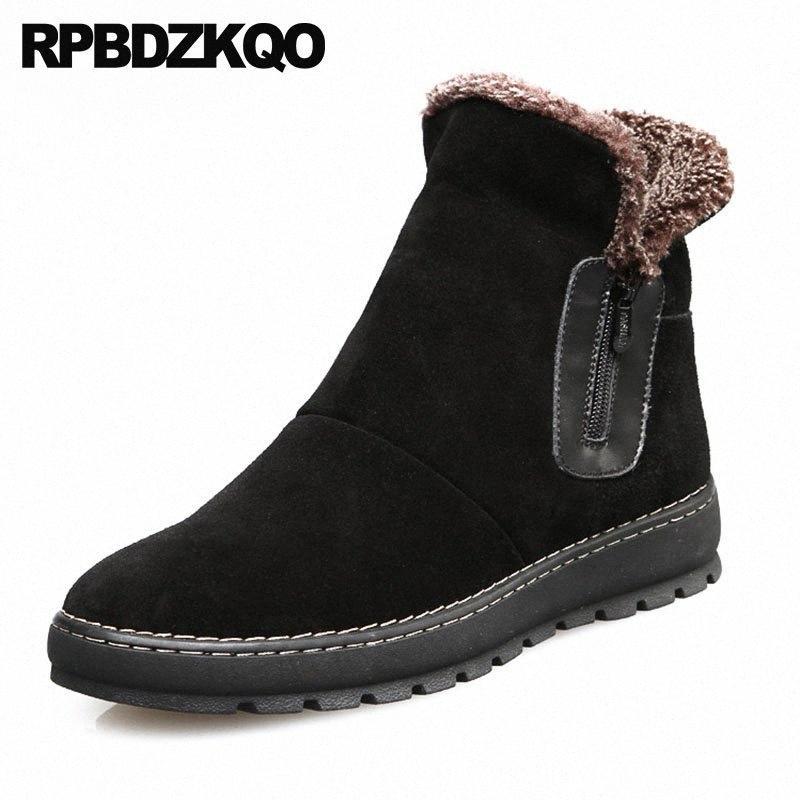 Chaussures de snowboot de la cheville Hiver Australie Fermeture à glissière High Top Noir Bottillons Super Chaud Bottes Russe Style Russe Full Grain Snow Hommes Fur F47L #