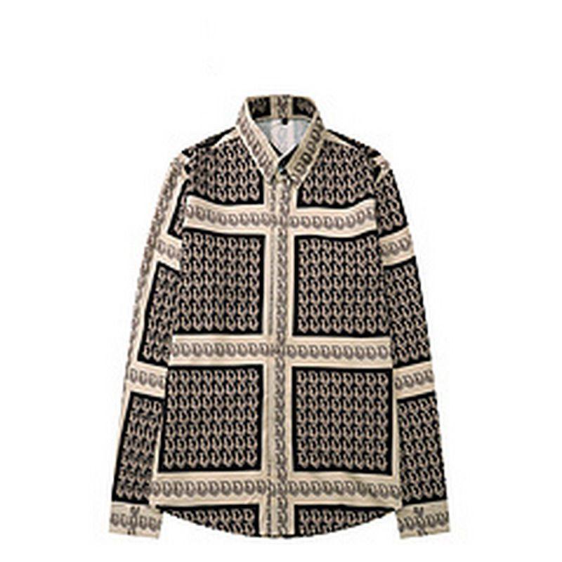 Männer Casual Hemden Luxus Mode Männer Kleid Hemden Gold Blumendruck Baumwolle Silk Slim Fit Hemden Kleidung
