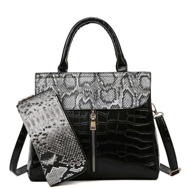 Sacs à bandoulière 2021 Sac à main d'impression de serpent rétro avec portefeuilles de style occidental Mode Messenger Femmes Sac à rabat pour femmes sacs à dos et sacs à main de luxe