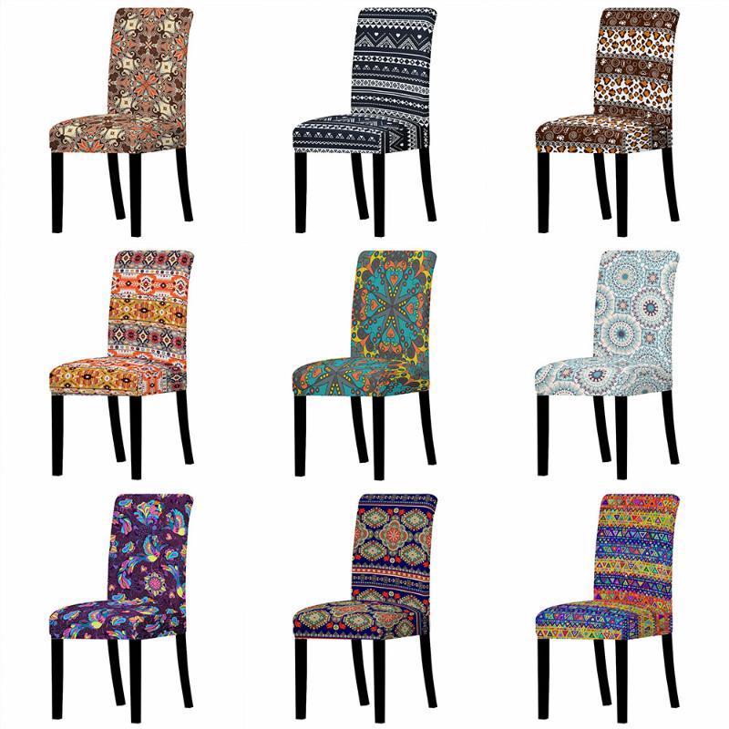 Cubiertas de silla Bohemia Cover Spandex para comedor Stretch Slightcover Fiesta banquete Boda Asiento lavable