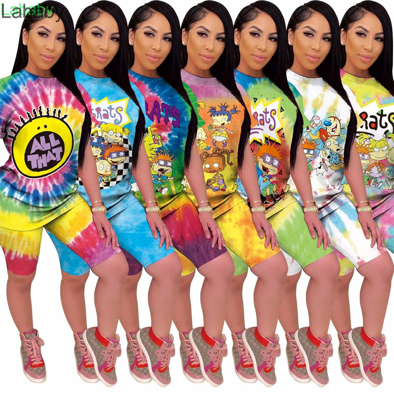 Women Tracksuits Designer 2021 New Classic Cartoon Home Printing Tie Dye Two Piece Set Ladies Fashion Outfits