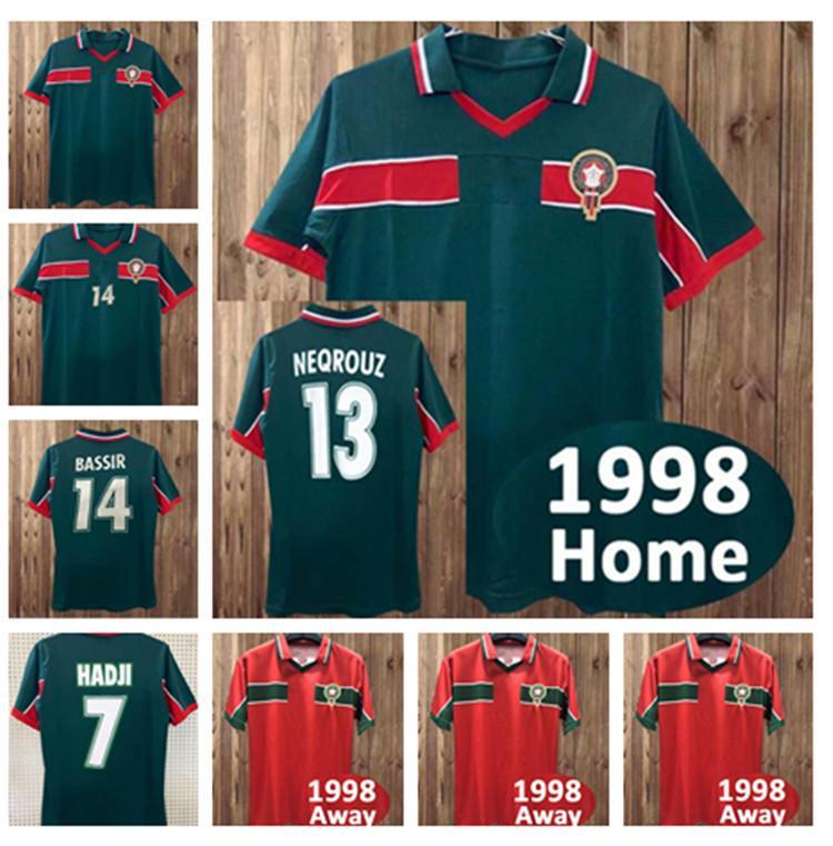 الرجعية الكلاسيكية 1998 كأس العالم بعيدا المغرب لكرة القدم الفانيلة الحاج عويكيلي نكريز بسير 98 99 ريترو تخصيص قميص كرة القدم
