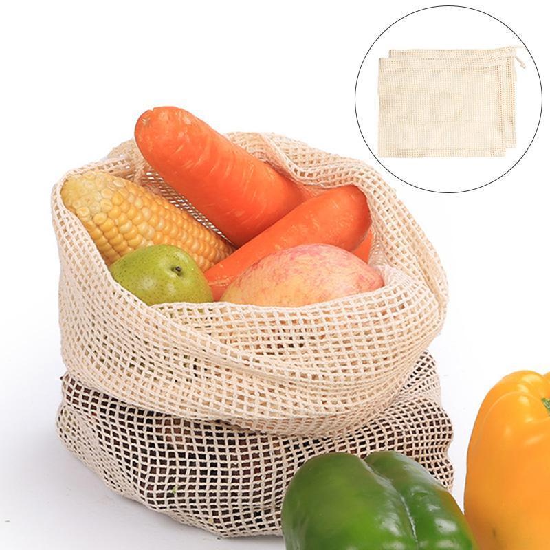 Borse di archiviazione verdure in rete riutilizzabili sacchetti di stoccaggio di maglia producono la cucina frutta alimentari