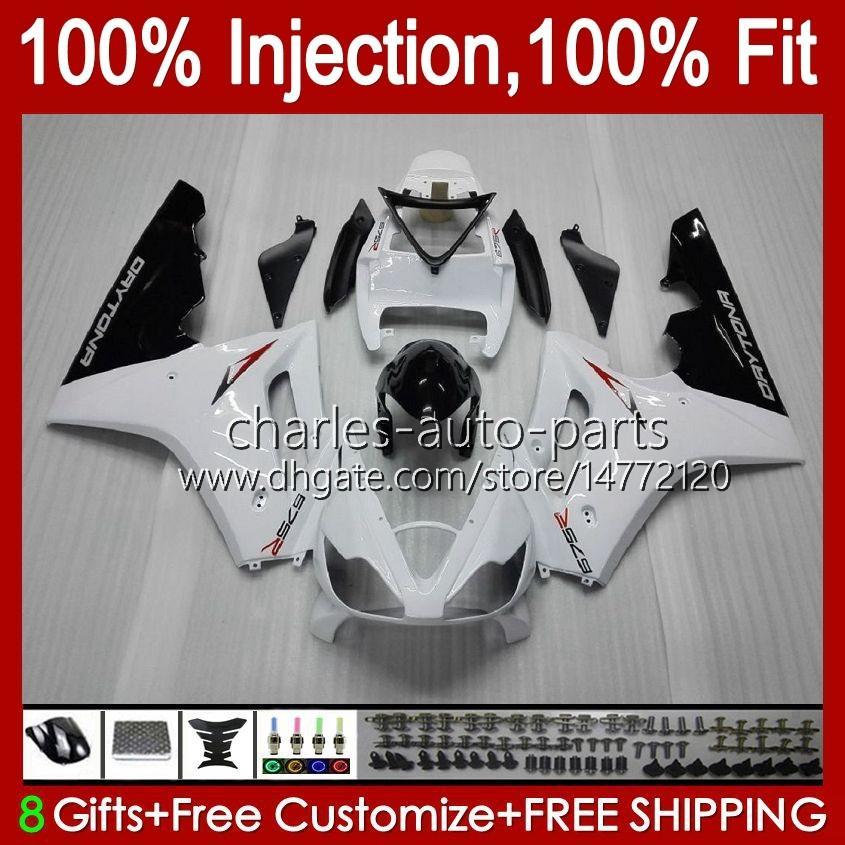 Injection mold Body For Triumph Daytona 675 R 675R 02 03 04 05 2006 2007 2008 white glossy blk Kit 106HC.4 Daytona675 Daytona 675 2002 2003 2004 2005 06 07 08 OEM Fairing