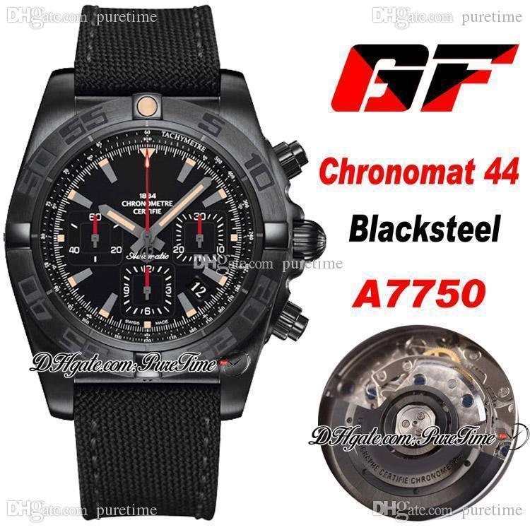 GF 크로노 맷 44mm 블랙 스테일 스페셜 에디션 ETA A7750 자동 크로노 그래프 망 시계 PVD 스틸 블랙 다이얼 나일론 스트랩 PTBL PURETIME A33