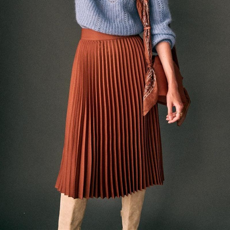 New Chic Pleated Midi Donne Donne A Vita alta A Line Solid Casual Gonne 2021 Gonna lunga vintage Jupe Longue Femme Plisse KC7a