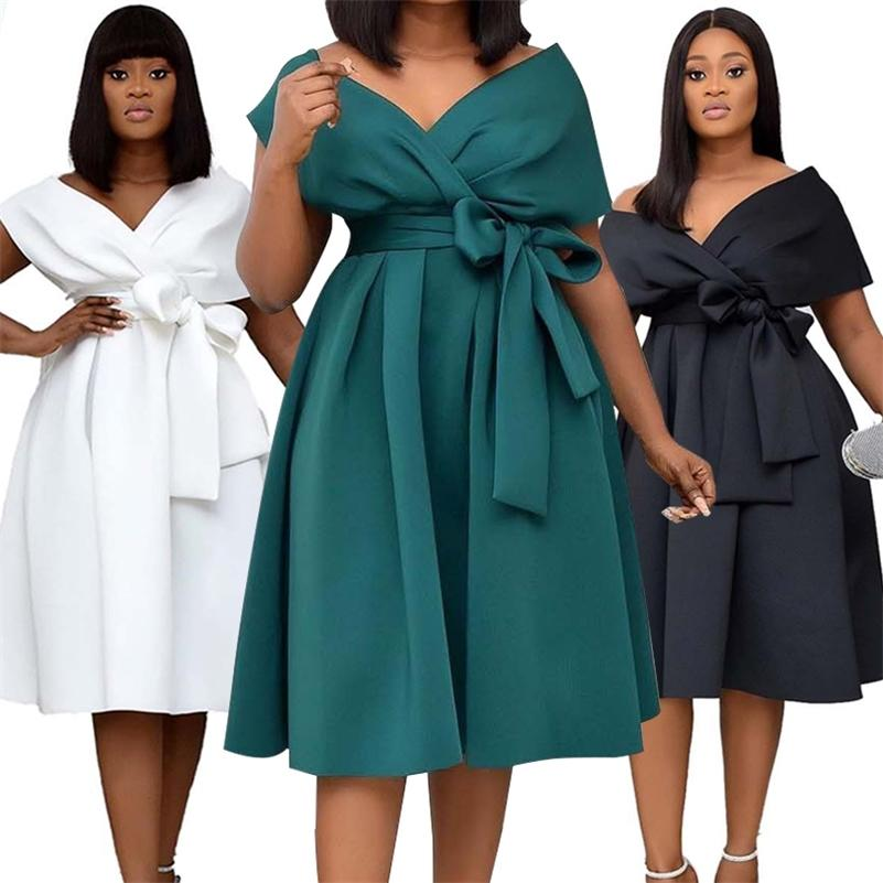 Vestido de mujer de alta calidad Arco elegante vestidos de fiesta para mujer para mujeres más tamaño S-XXXL Ropa de mujer Vestido adulto Vestidos 210317