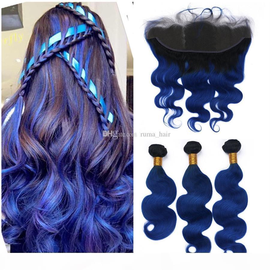Перуанские девственницы человеческие волосы Weaves Blue Ombre Extension волос с кружевами фронтальные темные корни натяжные волосы наращивания волос 4шт