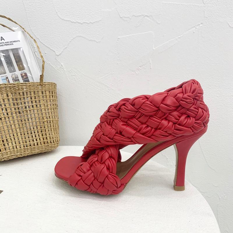 Designer Slide Fashion Luxury Women's Sandal Heel Board Shoe Party Weaving High Heels