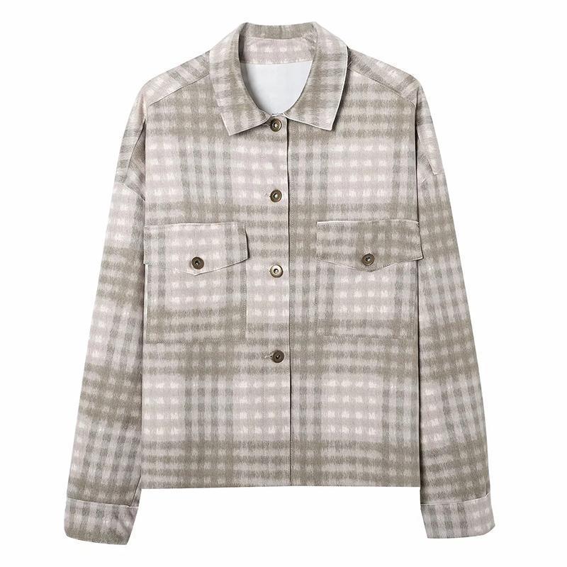 Mujeres Nuevo Simple Poller Pocket Plaid Jacket Femenino Retro All-Match Commut Sapa de manga larga Top