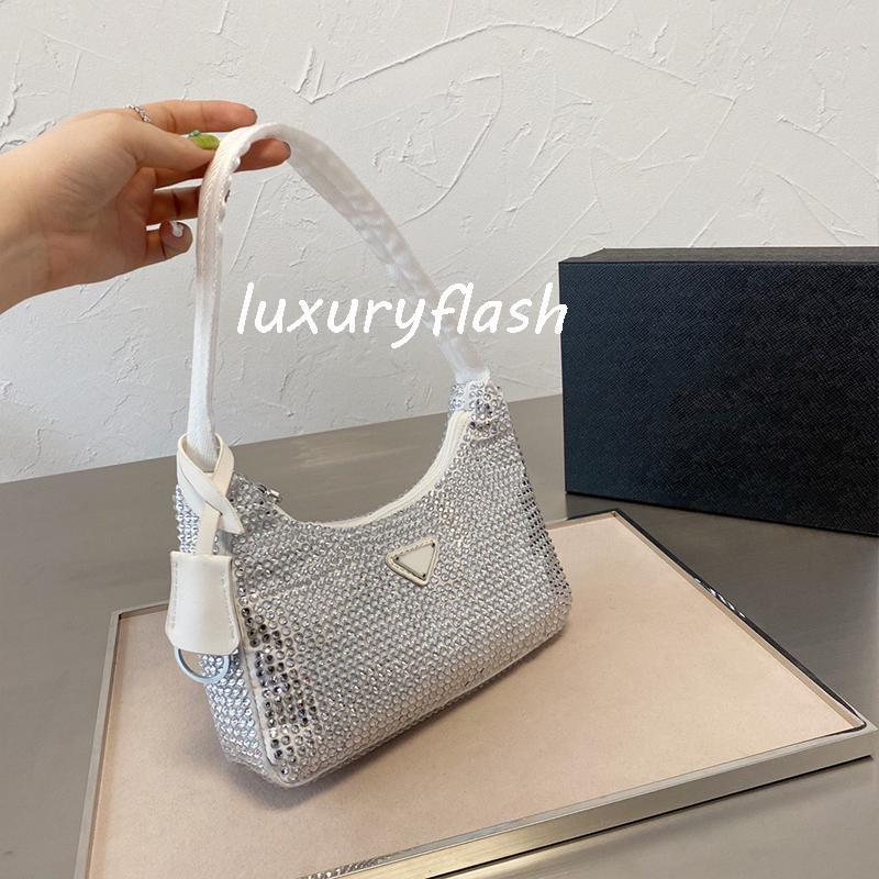 Последние бриллиантные женские сумки на ремне 2021 лето 8 цвет подмышенные кошельки моды леди дизайнеры роскоши бренда сумки Bling нейлон высокого качества блестящий сумочка