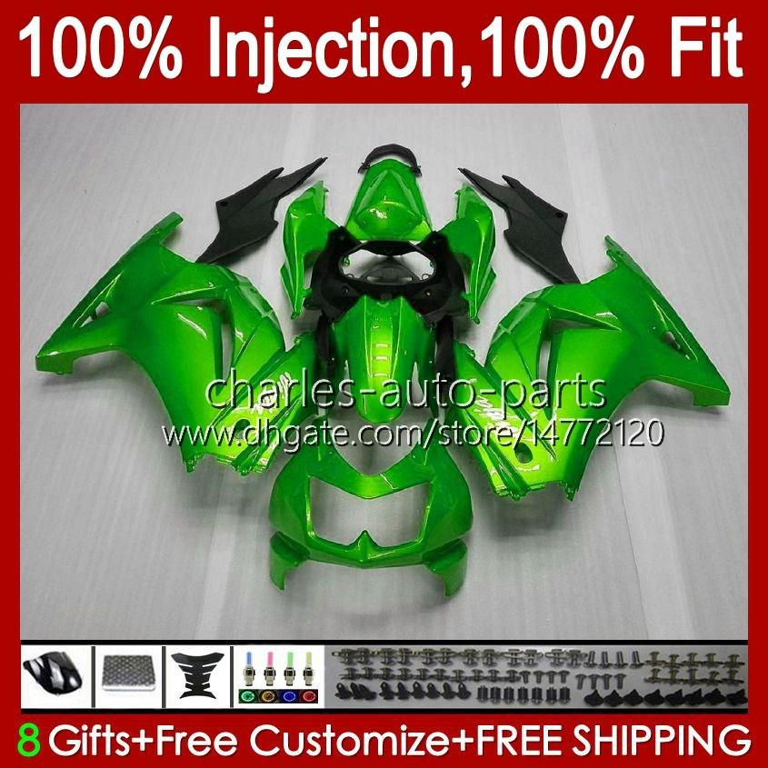 Inyección para Kawasaki Glossy Green Ninja ZX250R EX250R ZX-250 ZX 250R 13HC.75 ZX250 2007 2009 2010 2011 EX250 08 09 10 11 12 12