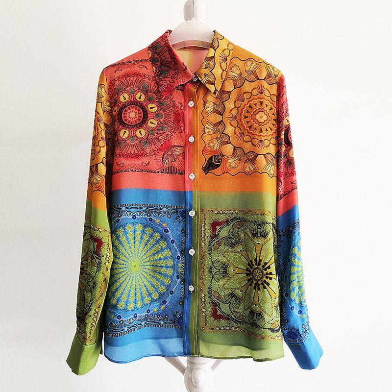 220 2021 Camicie da runway Primavera Summer Camicie Bavero Nuova Silk Flora Stampa Brand Stessi style Shirts YY