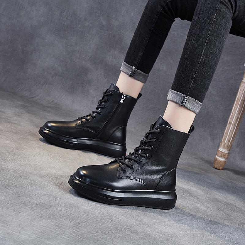 الأحذية النمط البريطاني المرأة الفاخرة الأزياء جلد طبيعي أسود منصة الأحذية الخريف الشتاء الكاحل التمهيد كاوبوي بوتاس موهير bottes