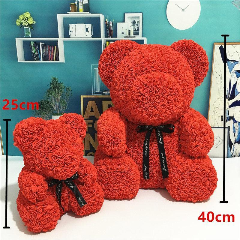 DIY 40CM PE Plastic Artificial Flowers Rose Bear Foam Rose Flower Teddy Bear Valentines Day Gift Birthday Party Spring Decoration With box