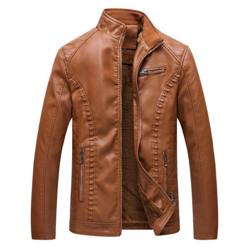 2021 Mens Thick Warm Leather Autumn and Winter New Fashionable Versatile Clothing Durable Motorcycle Jacket Casual Slim Men Coat Ecfp
