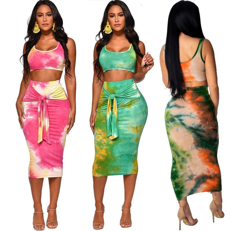2021 Yeni Yaz Moda Kadınlar İki Parçalı Kıyafetler Çayır Chic Stil Yuvarlak Boyun Kolsuz Kısa Tank Tops + Çanta Kalça Tayt Baskı Etekler Isam