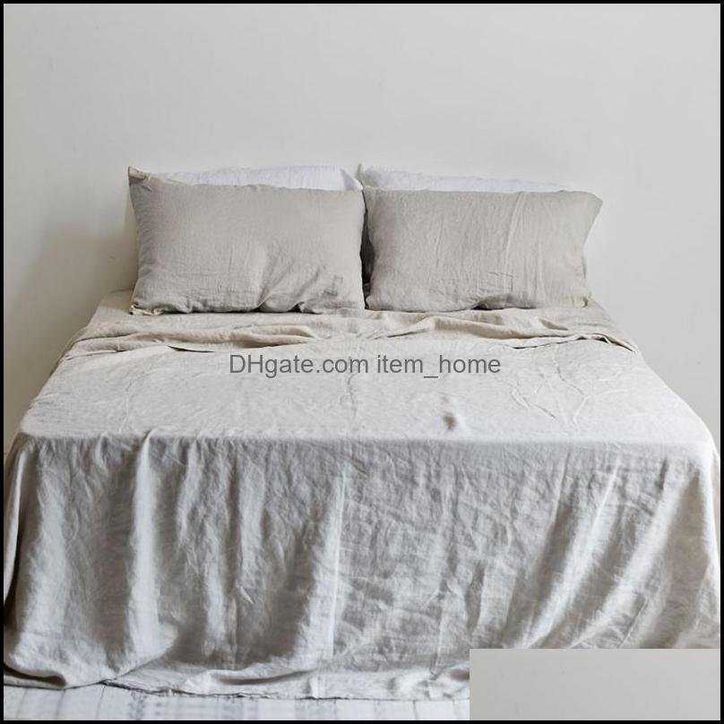 Sheets Bedding Supplies Textiles Home Gardensheets & Sets Nature Linens Flax Flat Bed Sheet Summer Soft Comfortable Linen For King Queen Siz