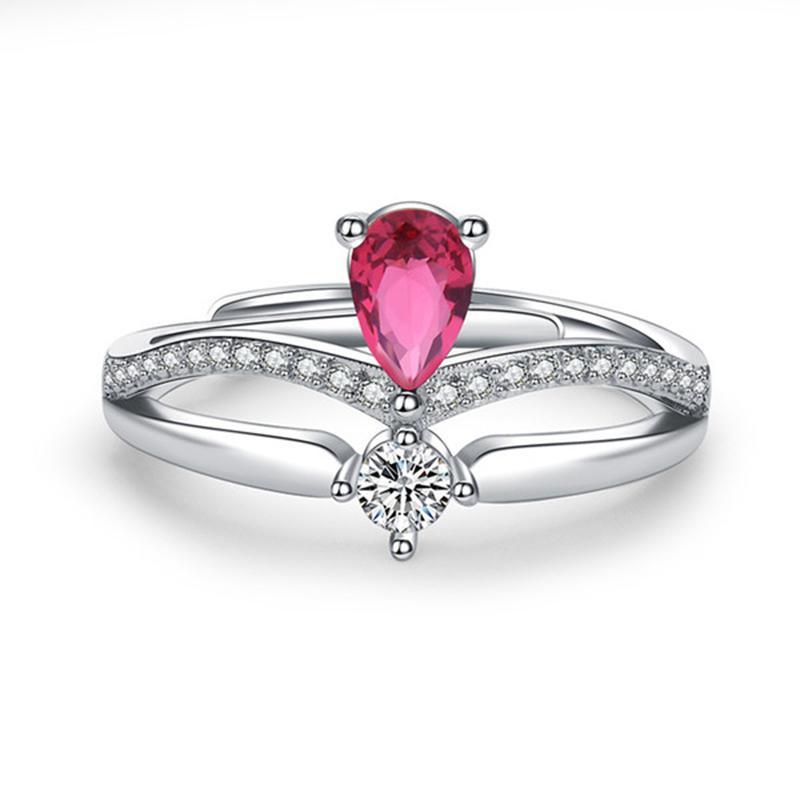 Женщины Diamond Crown Ring Серебро Регулируемые кольца Вовлечение Обручальные кольца для Женщин Мода Ювелирные Изделия