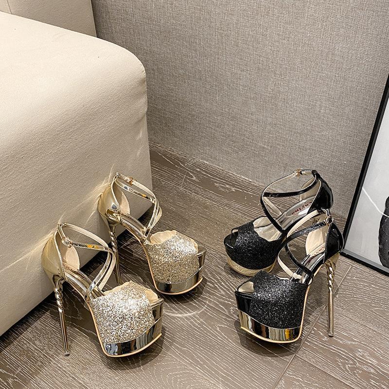 Bling Bling Black Platform Sandals Shoes High Heels Large Size Suit Female Beige Bright Espadrilles Stiletto High-heeled Big Fas