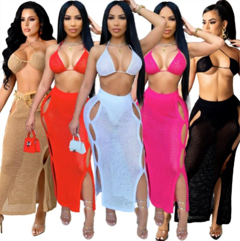 Bulk Sexy perspective hollow out beach dress fashion solid two piece set women clothes party evening clubdress 7366