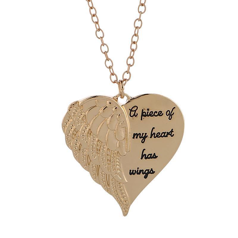 Daigelo Kreative Herzförmige Schriftzug Paar Halskette Neue Frauen Vintage Angel Wisings Herz Halskette Einzigartige Geschenk Schmuck