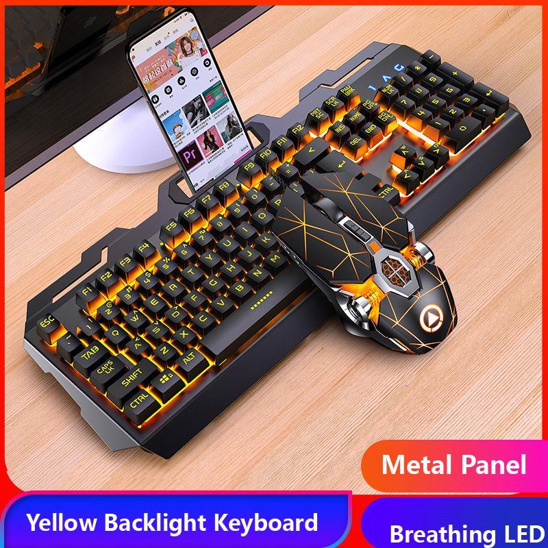 لوحة مفاتيح الألعاب الماوس سماعة ميكانيكية شعور RGB LED الخلفية اللوحات لوحة مفاتيح سلكية USB لعبة الكمبيوتر المحمول الكمبيوتر