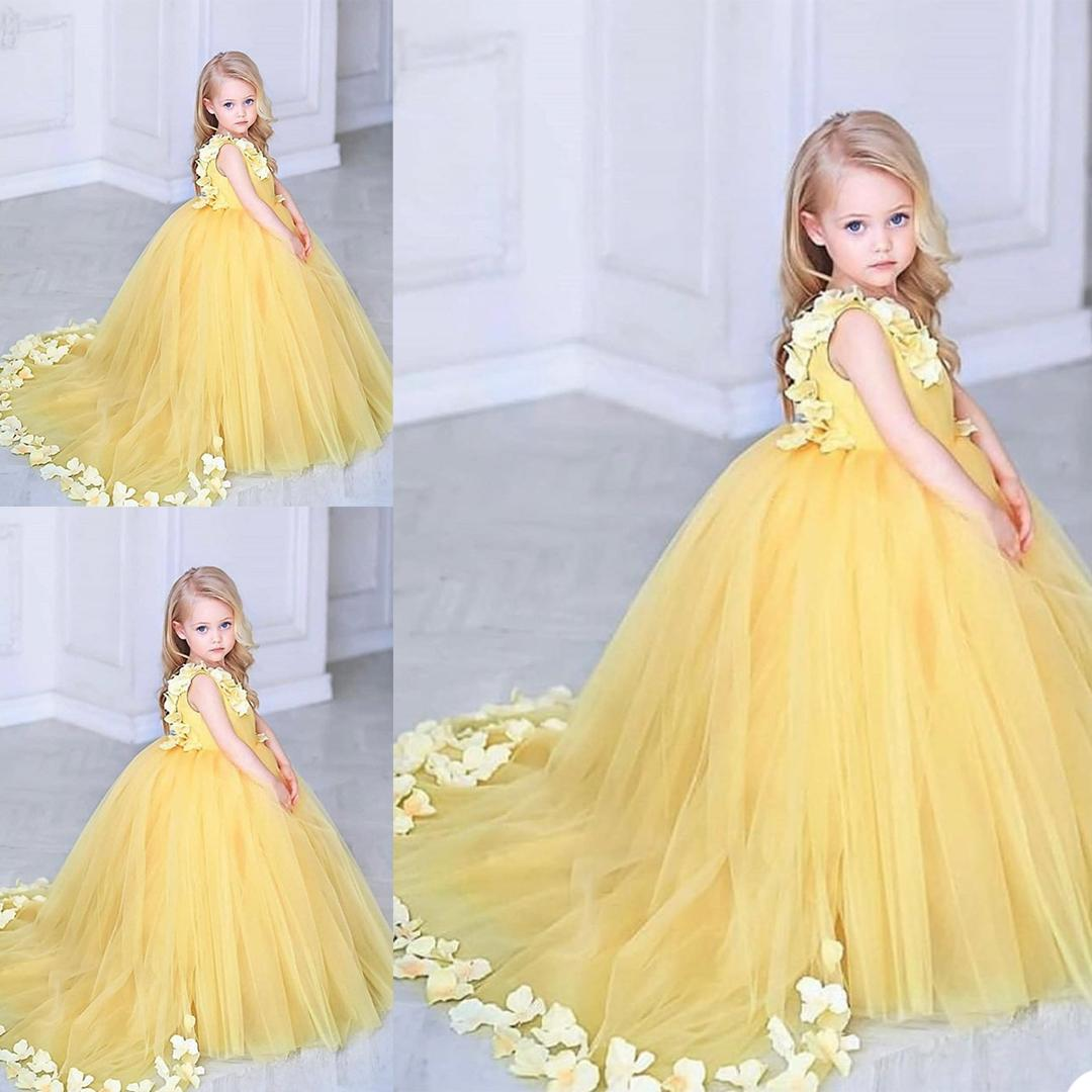 Bright Yellow Flower Girls Dress Applique Tulle Jewel Neck Birthday Gown Custom Made Kids Formal Wear Party Dresses