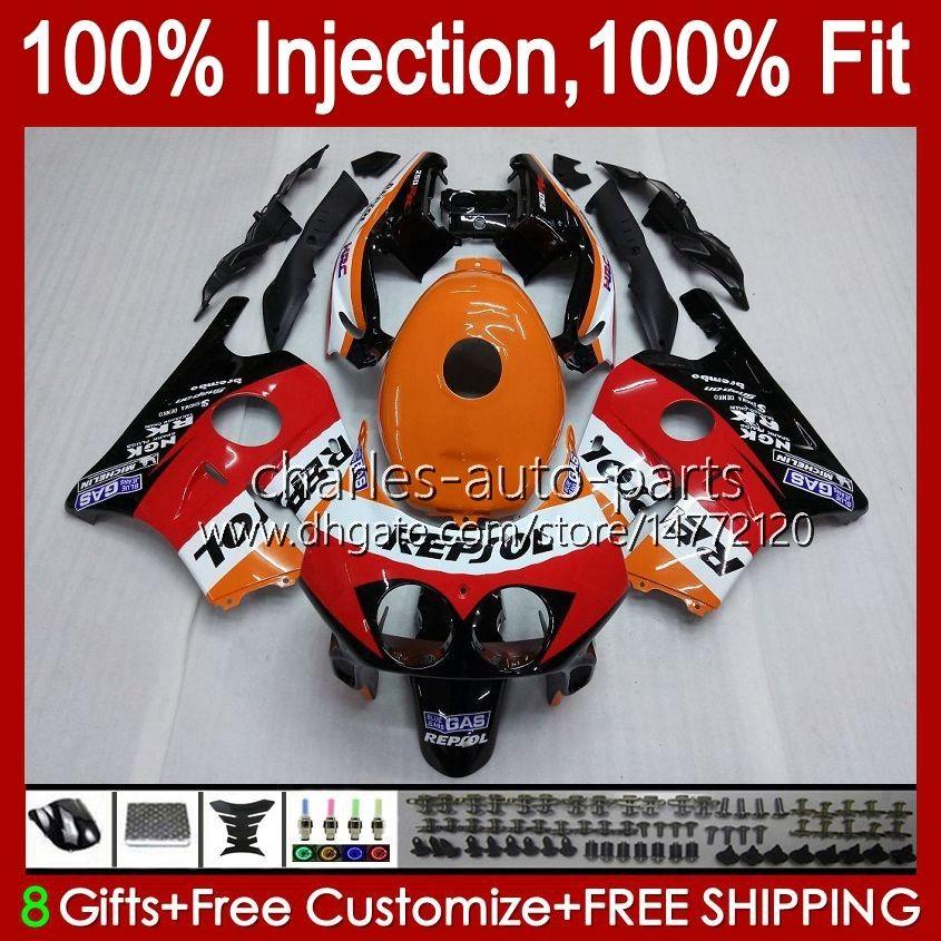 Injektionskropp för Honda CBR 250RR 250 RR CC CBR250RR 90 91 92 93 94 95 96 97 98 99 111HC.0 250CC MC22 CBR250 RR 1990 1991 1992 1995 1996 1997 1998 1999 Fairing Repsol Orange