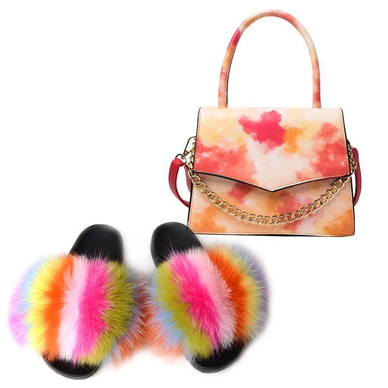 Women's Shoes Slippers Real Fur Slides and Jelly Bag Fashion Shoulder Bags Girls Big Fur Sandals Graffiti Bag