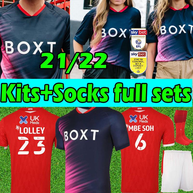 Kitleri + Çoraplar Tam Setleri 21/22 Nottingham Soccer Jersey Grabban Taylor 2021 2022 Mighly Ameobi Yates Lolley Freeman Knocktaert Orman Futbol Forması