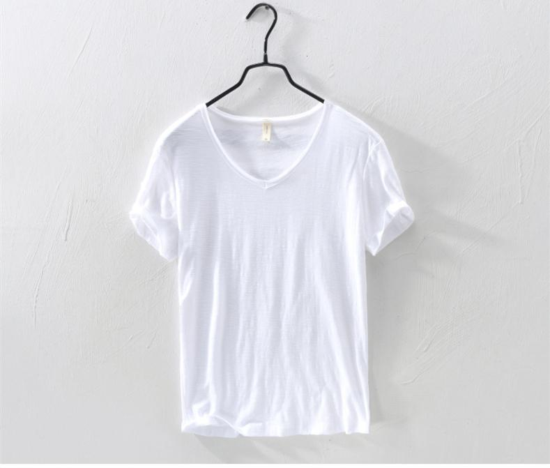 Best Seller T Shirts Men Short Sleeve 100%Pure Cotton V-neck Top Casual Solid White Tee Male Basic Tshirts Clothing