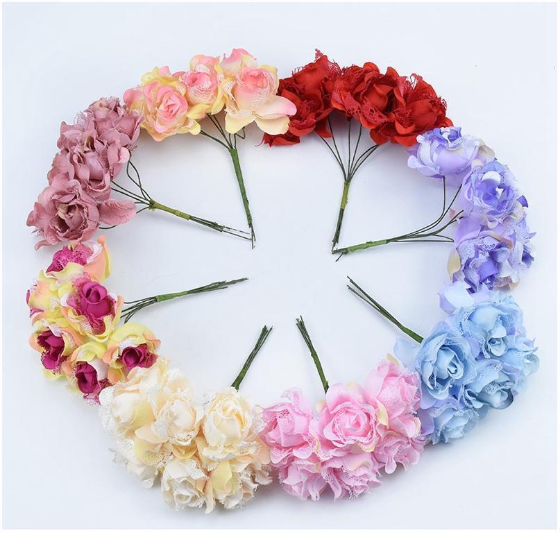 6pcs 장식 꽃 화환 홈 장식 액세서리 실크 장미 꽃병 가정용 제품 DIY 선물 인공 QYLHZW