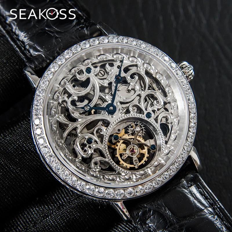 Relógios de pulso sakoss luxo mecânico esqueleto turbilhão homens relógio safira diamante homens st8000k gaivota movimento couro macho