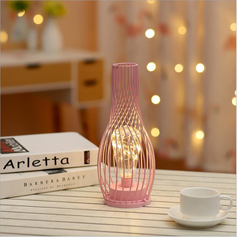 Кованые Светодиодные Ночные Света Батареи Ваза Украшение Для Домашнего Настольная Настольная Лампа Гостиная Освещение Детские Розовые Лампы