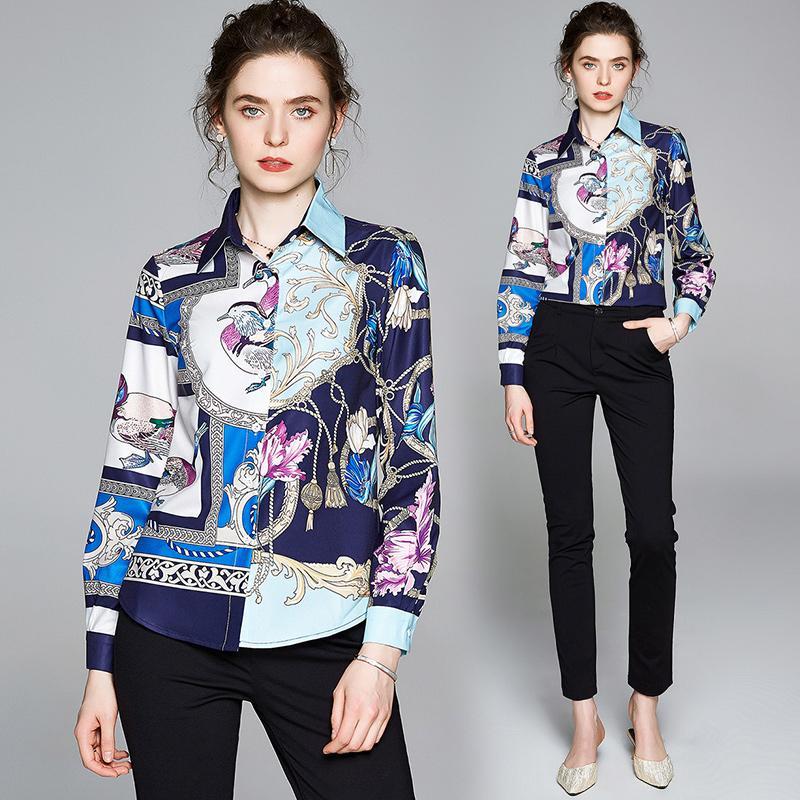 2021 frühling designer shirts langen hülse herbst winter elegante frauen button runway shirt plus size klassische damen büro druck blusen tops