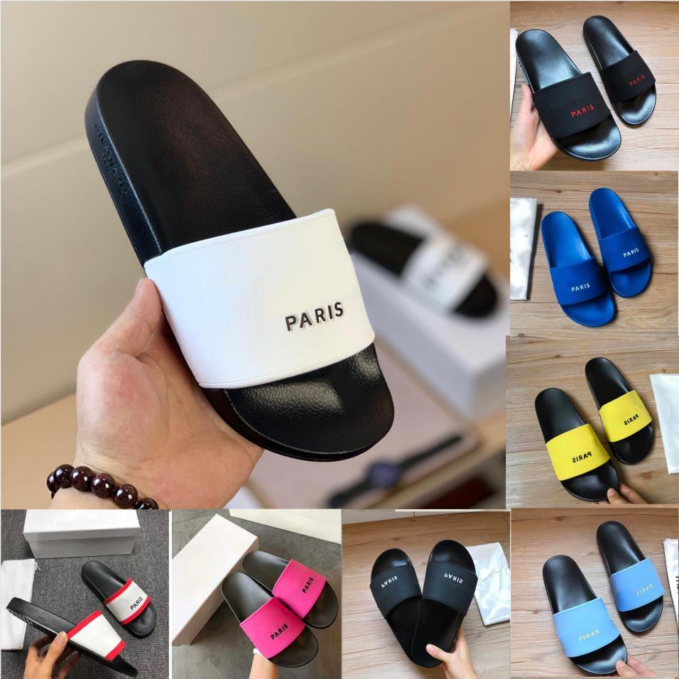 الرجال باريس النعال الصيف الصنادل الشاطئ المرأة فليب تتلاشى المتسكعون أسود أبيض أحمر المطاط chaussures داخلي أربطة الحذاء مربع الحجم 36-45