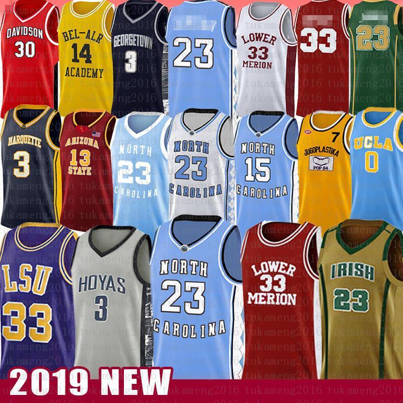 23 Michael Vince JD كارتر كلية كرة السلة جيرسي ألين NCAA IVERSON North Carolina University Toni Russell Kukoc WestBrook Dwyane James Wade Harden Curen